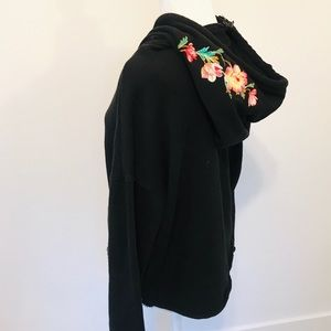 Betsey Johnson black hoodie floral embroidery